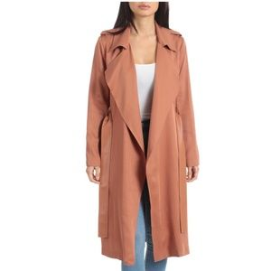 Badgley Mischka    Faux Leather Trim Trench Coat